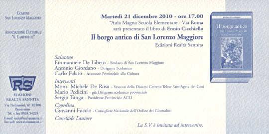 Invito alla presentazione del libro: Il borgo antico di San Lorenzo Maggiore