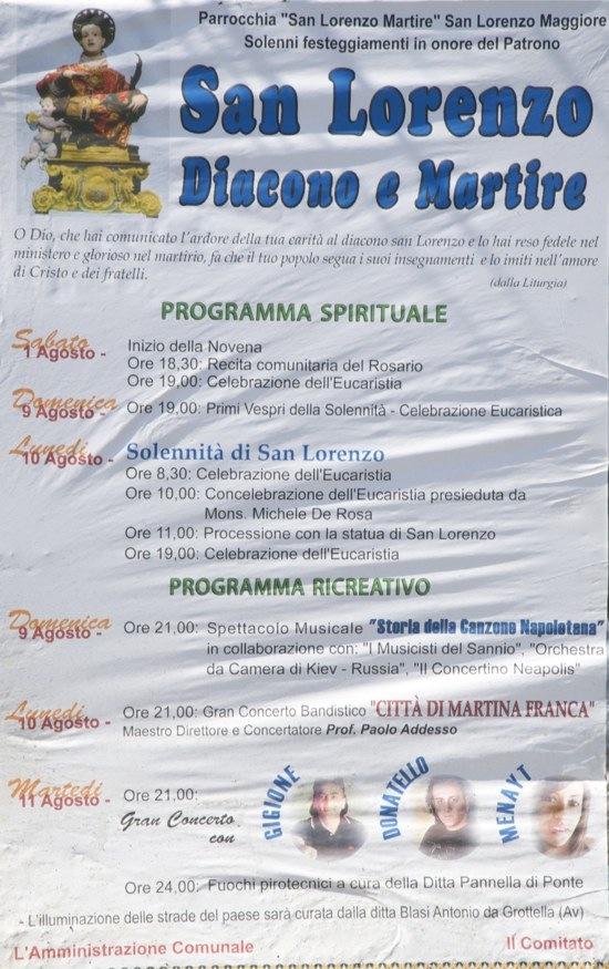 Programma festeggiamenti in onore del Patrono San Lorenzo