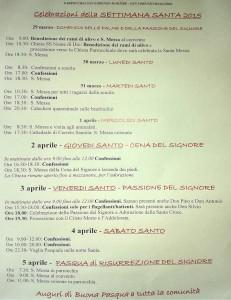 Programma Settimana Santa Pasqua 2015 Parrocchia San Lorenzo Maggiore